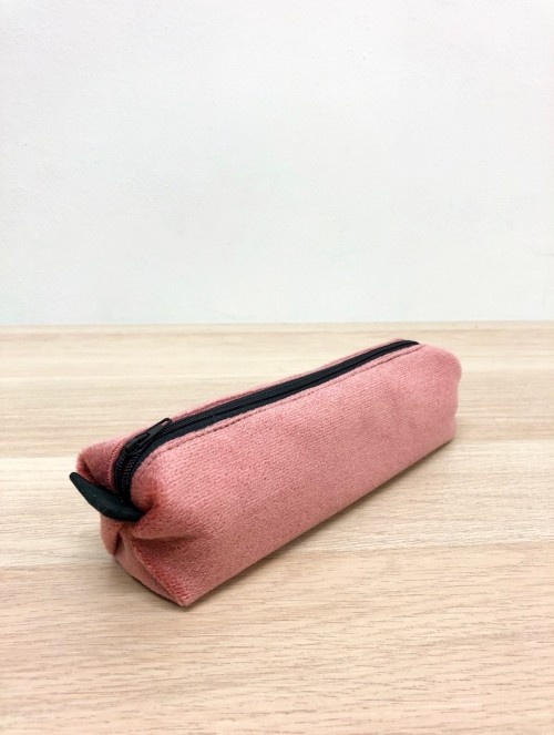 Trousse velours rose