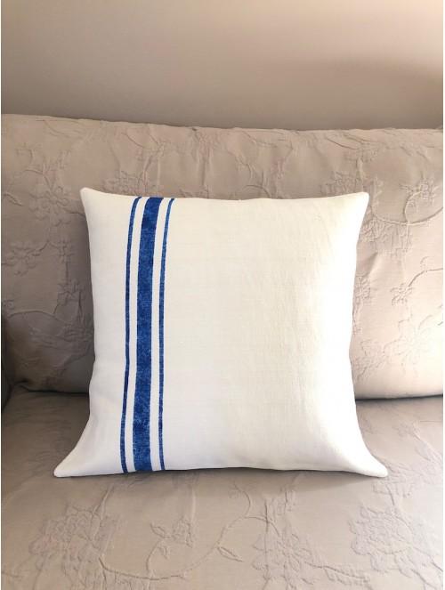 Coussin lin bleu