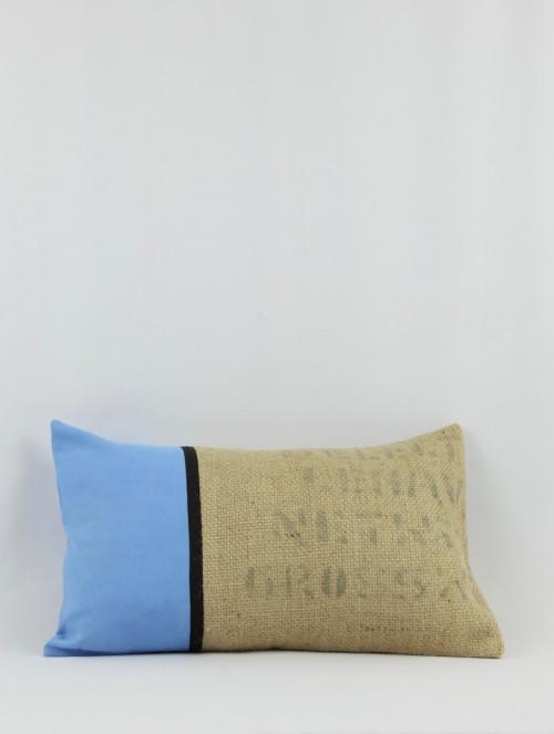 Coussin jute/bleu 2