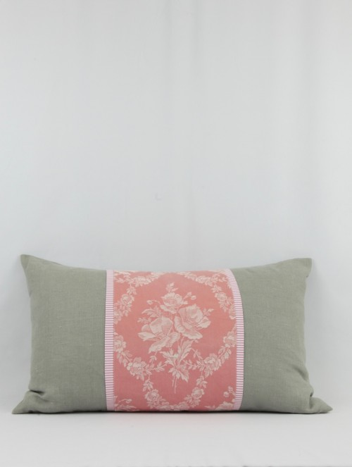 Coussin gris/rose