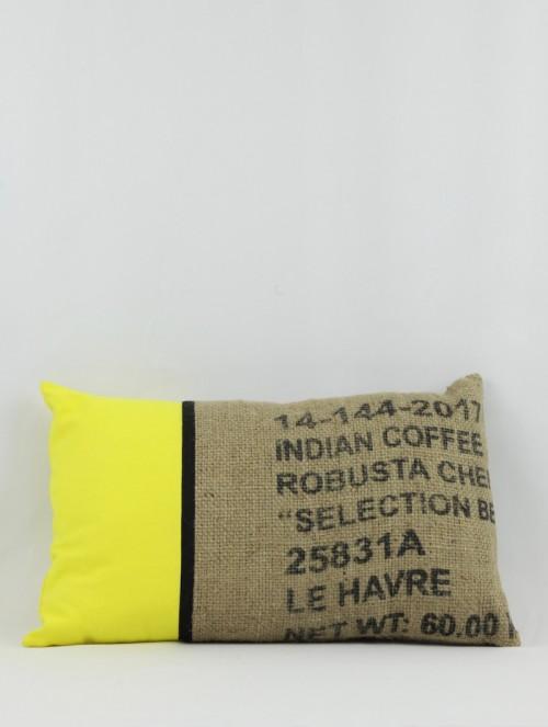 Coussin jute/jaune