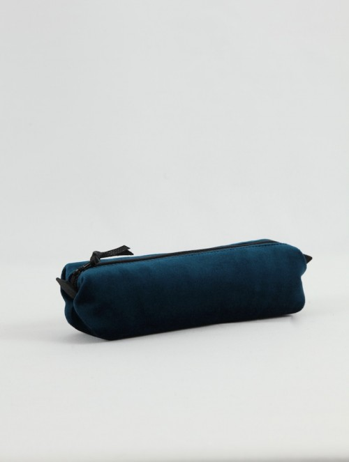 Trousse velours bleu canard